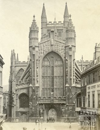 The west front of Bath Abbey, Bath c.1870