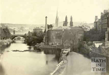 View of Town Mill and North Parade Bridge from Pulteney Bridge, Bath c.1870