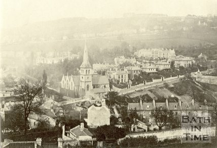 View of St. Matthew's Church and Widcombe Hill from Beechen Cliff, Bath c.1865