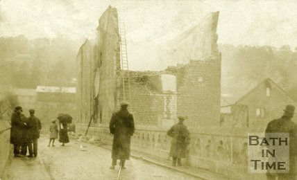 The aftermath of the fire at Batheaston Mill 1909