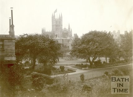 View of Institution Gardens from North Parade Bridge, Bath 1898