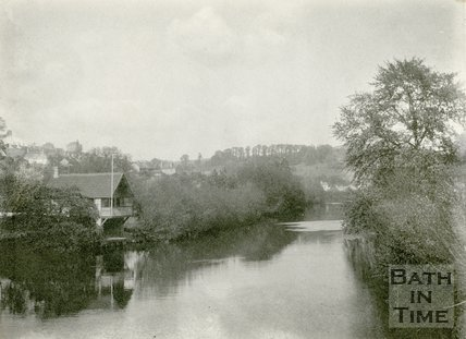 River Avon and boathouse from the toll bridge, Bathampton 1898