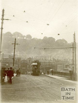 Tram crossing the Old Bridge, Bath c.1910