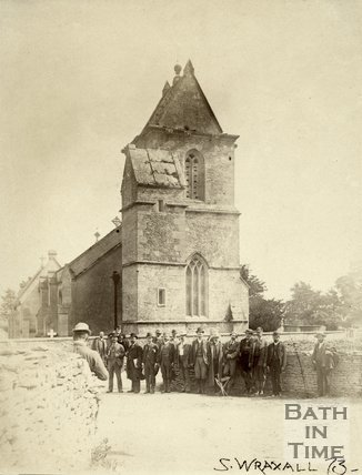 A gathering outside South Wraxall Church 1887