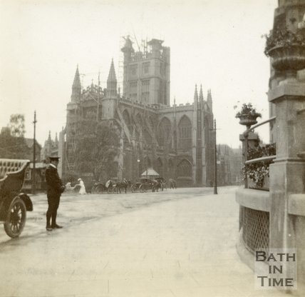 Bath Abbey having its pinnacles replaced, Bath c.1906