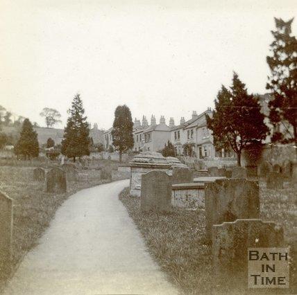 Monuments in the churchyard of All Saints' Church, Weston, Bath c.1906