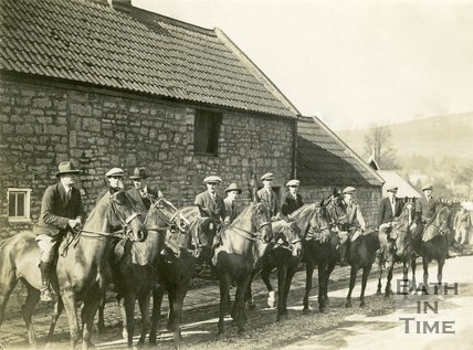A group of men on horses outside the George Inn, Bathampton 1927