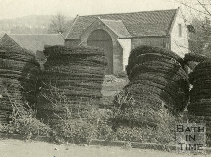 Reels of barbed wire, preparing for war, Bathampton 1943