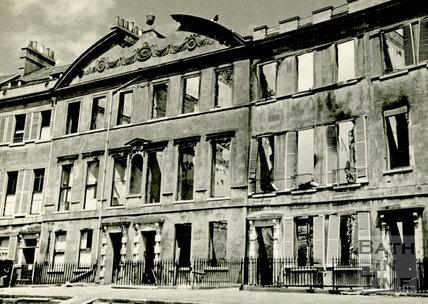 Somerset Place, Bath devastated during the Bath Blitz 1942