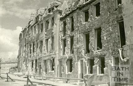 Lansdown Place East, Bath devastated during the Bath Blitz 1942