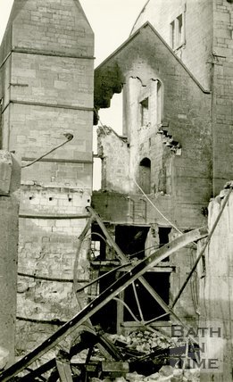 Inside a church in Bath, devastated during the Bath Blitz 1942