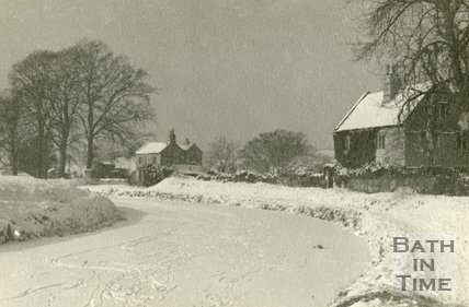 A snowy scene and frozen Kennet and Avon Canal, Bathampton 1930s