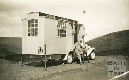 A homemade motorhome on a touring holiday 1930s