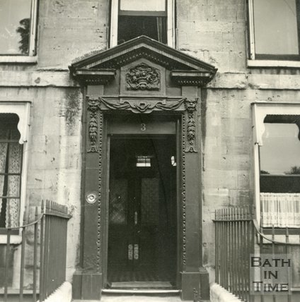 Doorway to 3, Queen Square, Bath c.1945