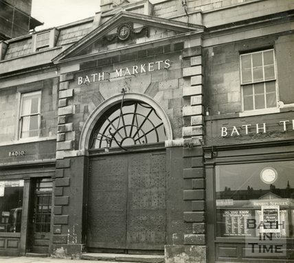 The entrance to Bath Markets on Newmarket Row, Grand Parade, Bath c.1945