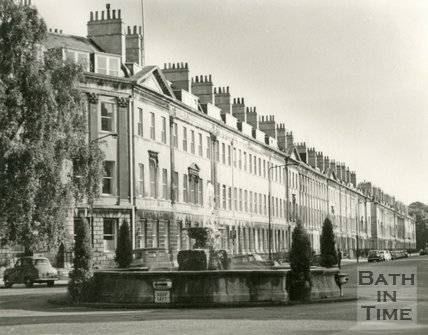 The fountain at Laura Place and Great Pulteney Street, Bath c.1963