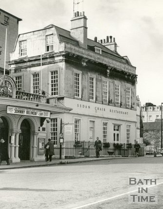 The Sedan Chair restaurant next to the Theatre Royal, Sawclose, Bath c.1963