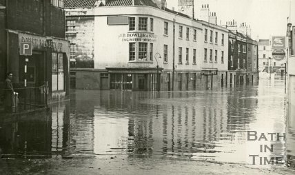 Corn Street, Bath during the floods 1960