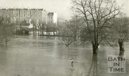 Parade Gardens, Bath during the floods 1963