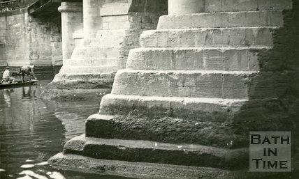 The upstream piers of the Old Bridge, Bath 1961
