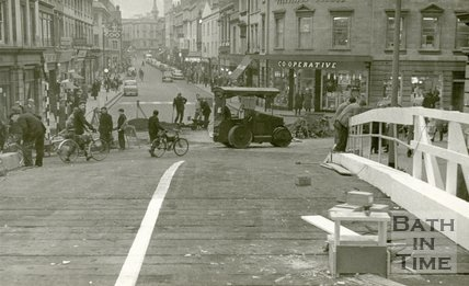 Repairs to the Old Bridge, Bath c.1961