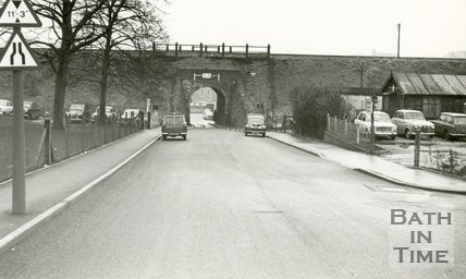 The Somerset and Dorset railway line over Monksdale Road, South Twerton, Bath 1968