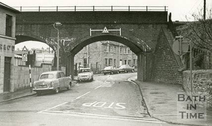 The Somerset and Dorset railway line over Bellott's Road, West Twerton, Bath 1968