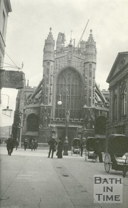 The west door of Bath Abbey, Bath 1905
