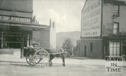 A horse and carriage stand outside Herbert W. Price butcher's shop, 27, Belvedere, Bath 1905