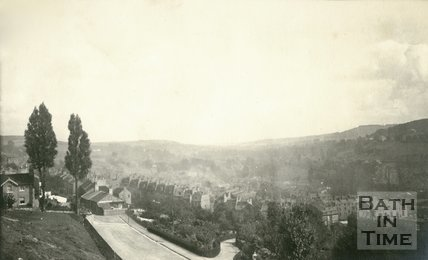 An early view below Camden Crescent of the undeveloped land above Hedgemead Park, Bath 1905
