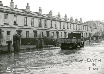 Victoria Buildings, Lower Bristol Road, Bath during the floods 1947