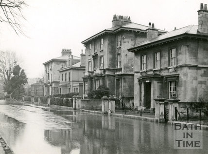 Henrietta Villas, Henrietta Road, Bath during the floods 1947