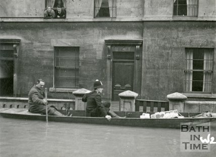 19, Victoria Bridge Road, Bath during the floods 1947