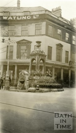Mineral Water Fountain, Bath Street and Stall Street, Bath 1928