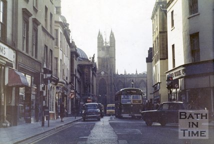 View from Northgate Street towards Bath Abbey, Bath late-1960s