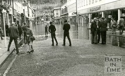 The high water mark in Southgate Street, Bath during the floods 1968