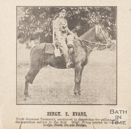 Sergeant E. Evans on his horse, of South Lodge, North Parade Bridge, Bath, 1916