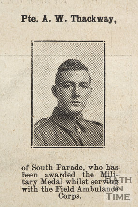 Private AW. Thackway of South Parade, Bath, 1918