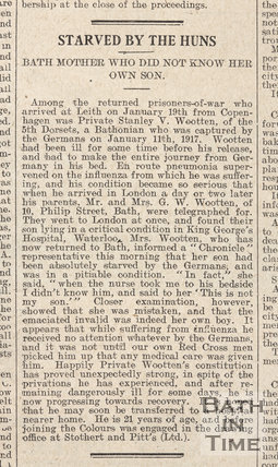 Starved by the Hun - Bath Mother who didn't know her own son in WWI, 1919