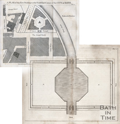 1749 The Royal Forum in Bath combined with John Wood's map of the Parades development