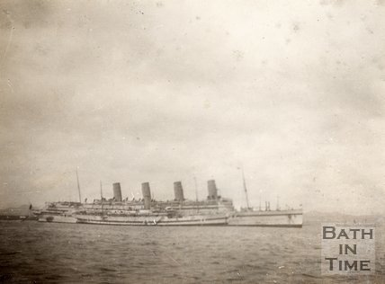 White Star liner RMS Olympic and P&O ship laying alongside, Gallipoli