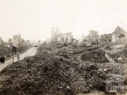 Ruined houses at Ypres, Belgium