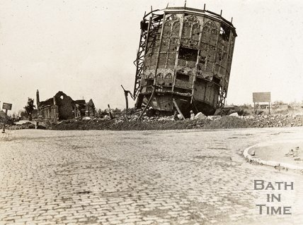 Gasometer turned upside down by shell at Ypres, Belgium