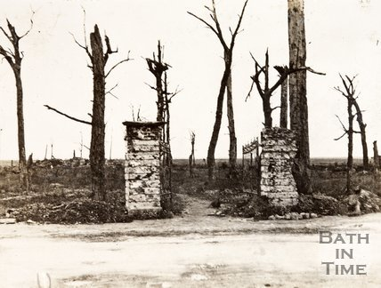 Gates of the White Chateau and burned out trees, Ypres, Belgium - possibly site of White House Cemetery