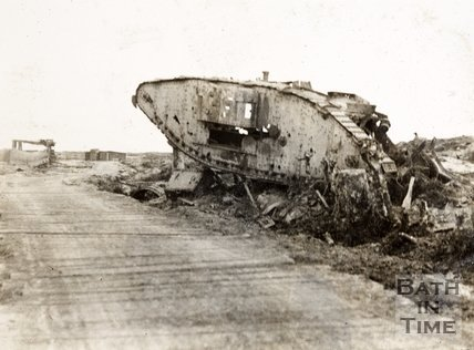 Wreck of a British tank on the Menin Road, Ypres, Belgium