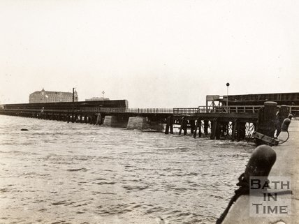 Spot where British submarine blew up pier connecting shore with the mole during Zebrugge Raid, 23 April 1918.