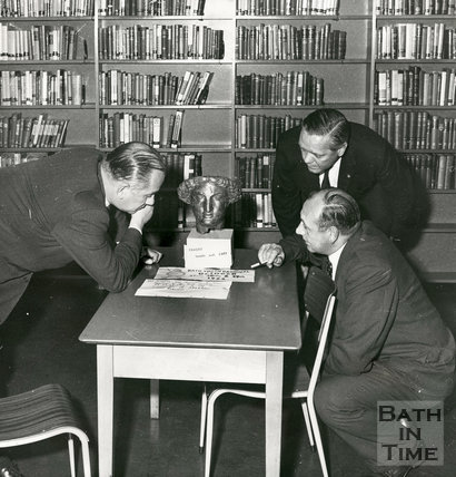 Minerva's Head found in Bath Central Library, 27 October 1966