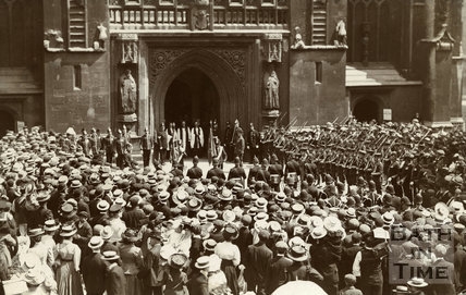 Depositing the Colours of the Light Infantry at the Bath Abbey, 1908
