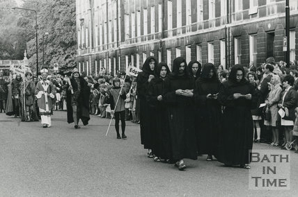 Monarchy 1000 Procession, Party of 'Saxon' monks, May 1973, Bath