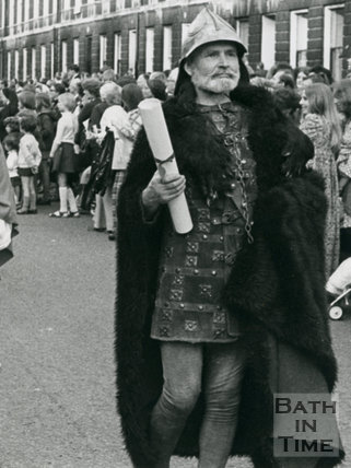 Monarchy 1000 Procession, King Edgar (Peter Watts) Leads the procession May 1973, Bath